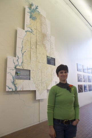 Artist Lauren Rosenthal with Mecklenburg Creeks Drawing. Photo: College of Ars + Architecture.