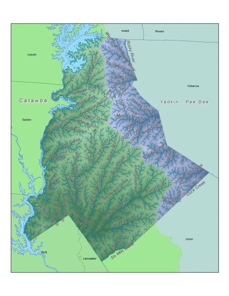 (Click for zoomable image.) The eastern third of Mecklenburg drains to the Yadkin-Pee Dee River; the other section to the Catawba River. Map: Garrett Nelson