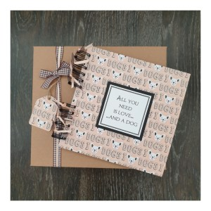 scrapbook with gift box and I love dogs background design