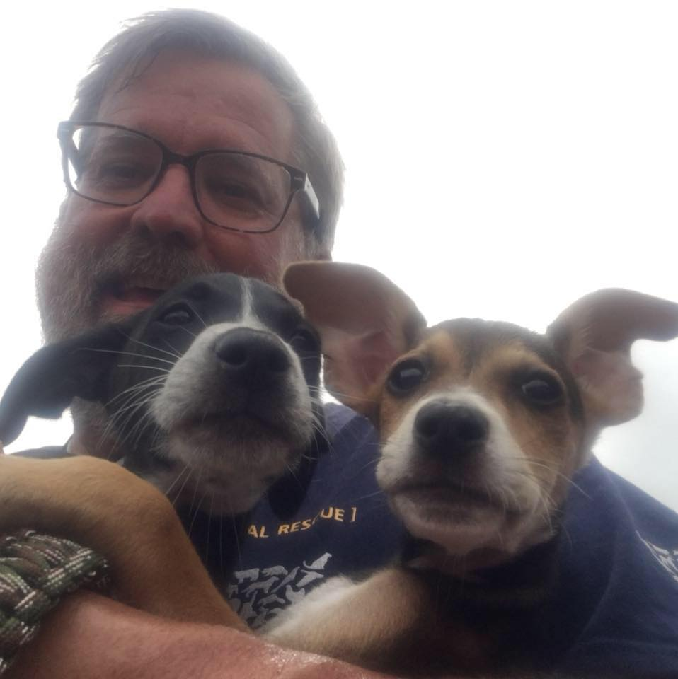 Dave and 2 pups