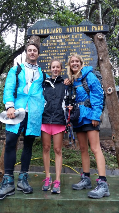 First day of our trekking! Can you see we were prepared for the rain?