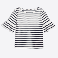 j crew ruffle striped shirt
