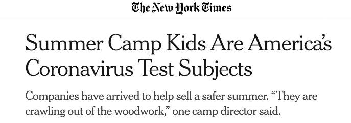 Memories of summer camp this year might include a weekly nasal swab for COVID-19 testing.