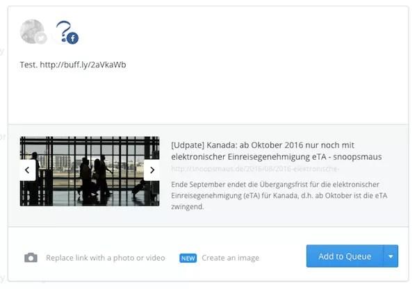 Planen eines Statusposts auf Facebook