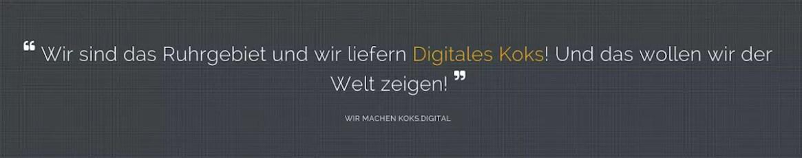 Motto der Koks.Digital-Konferenz in Bochum