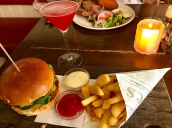 Falafel Burger and strawberry daiquiri