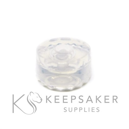 medium bead mould with bead, ideal for making charm beads for Pandora style bracelets. Compatible with Keepsaker Supplies bead cores. Water-clear silicon mold