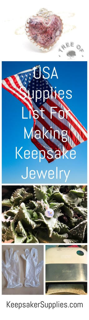 USA supplies list for keepsake jewelry making, breastmilk jewelry, cremation ashes jewelry and lock of hair jewelry