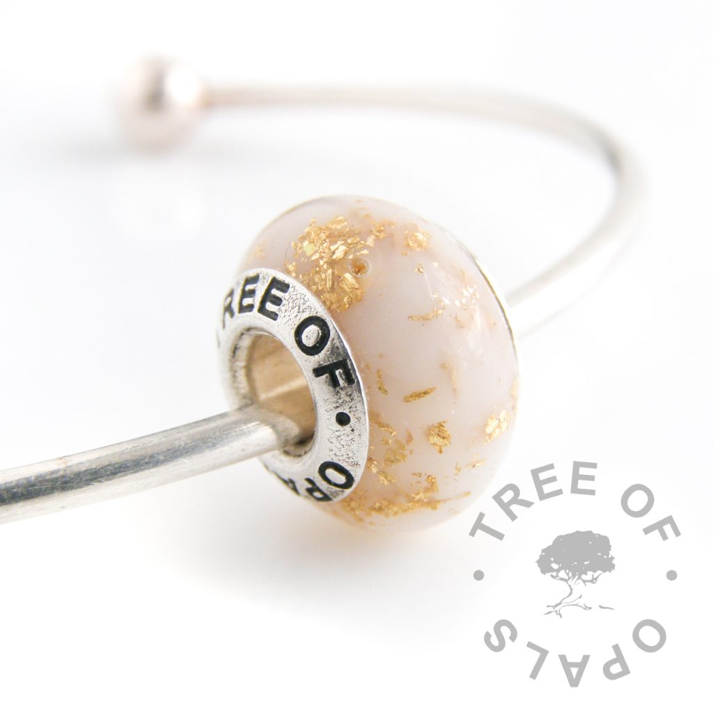 breastmilk charm with gold leaf and Tree of Opals core for Pandora bracelets