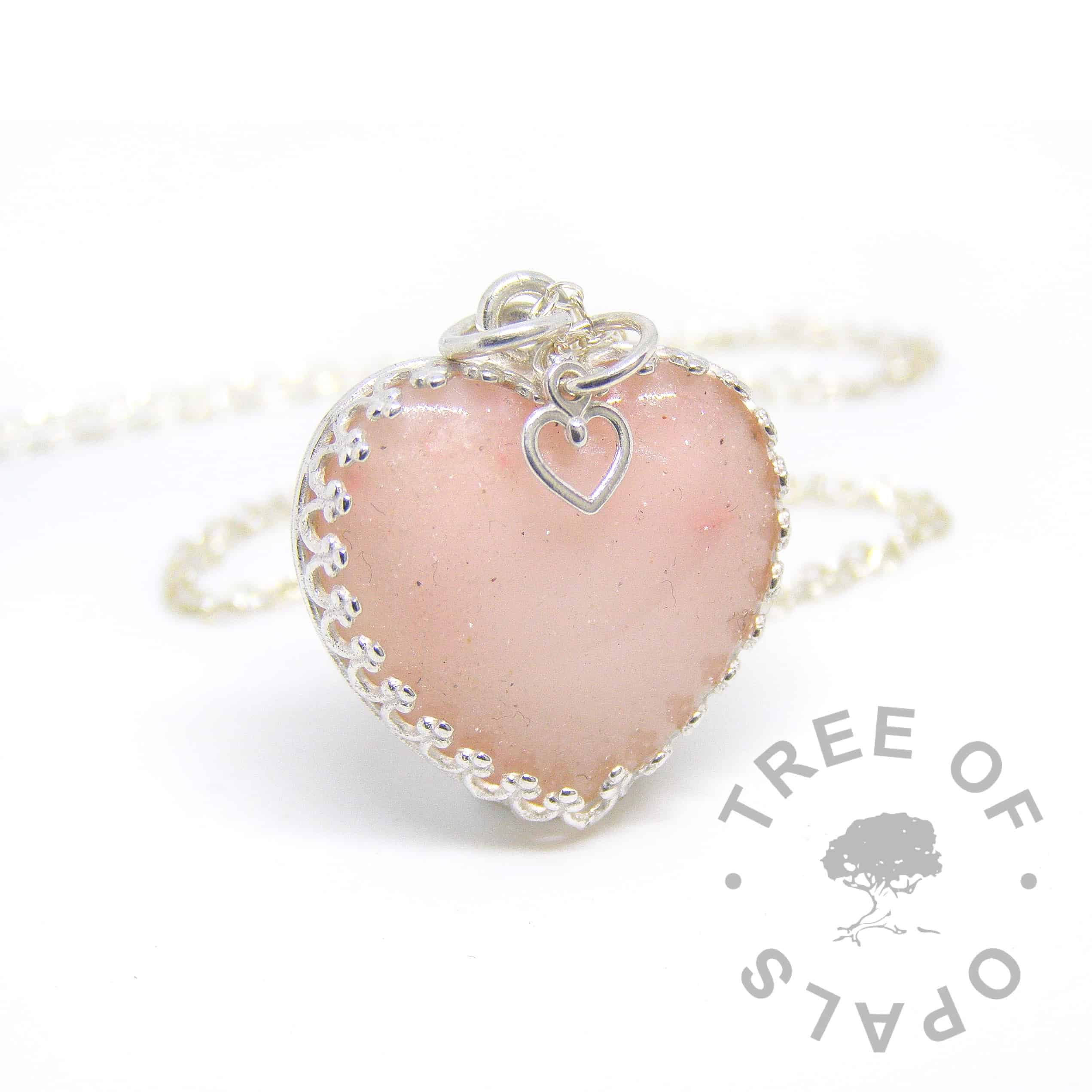 breastmilk heart necklace with 18mm medium heart cabochon made with milk powder, pink mica blend and diamond powder