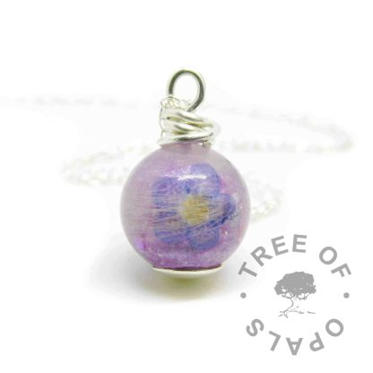 forget me not pearl with orchid purple resin sparkle mix and a shaped forget me not
