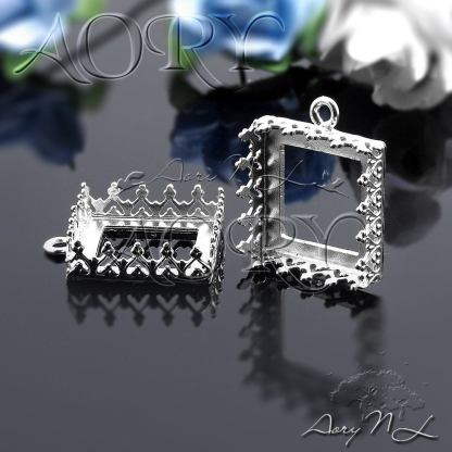 12mm square silver crown setting from Etsy, link above