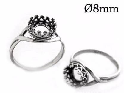 8mm silver crown ring setting