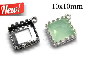 10mm square silver crown setting from Etsy, link above
