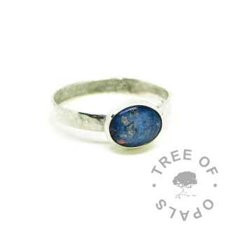 Aegean blue ashes ring with textured band, Argentium sterling silver 935