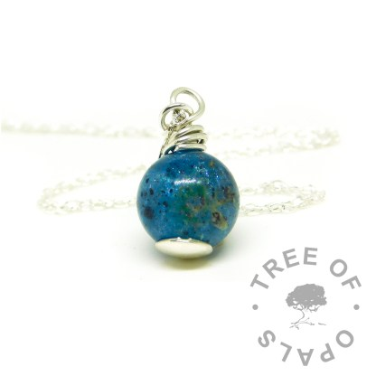 umbilical cord 11m sphere necklace with Aegean blue resin sparkle mix and 6mm domed headpin