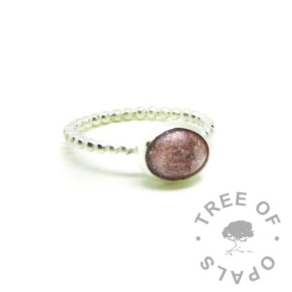 fairy pink resin sparkle mix cremation ashes ring. Bubble wire band, Argentium silver 935 purity