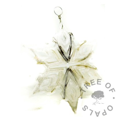 Unicorn white resin sparkle mix and lock of hair snowflake ornament for Christmas. Memorial ornament