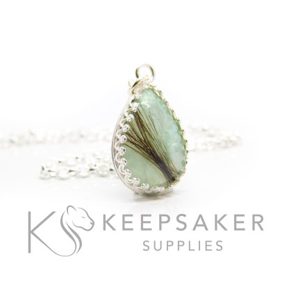 Aqua hair teardrop necklace. Crown point teardrop setting in solid sterling silver, 925 stamped. Angelic aqua resin sparkle mix. Shown with a medium classic chain (not included)
