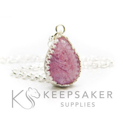 Pink ashes teardrop necklace. Crown point teardrop setting in solid sterling silver, 925 stamped. Fairy pink resin sparkle mix. Shown with a medium classic chain (not included)