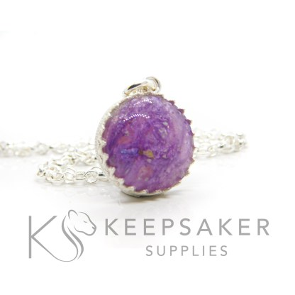 Purple ashes round necklace. Crown point round setting in solid sterling silver, 925 stamped. Orchid purple resin sparkle mix. Shown with a medium classic chain (not included)