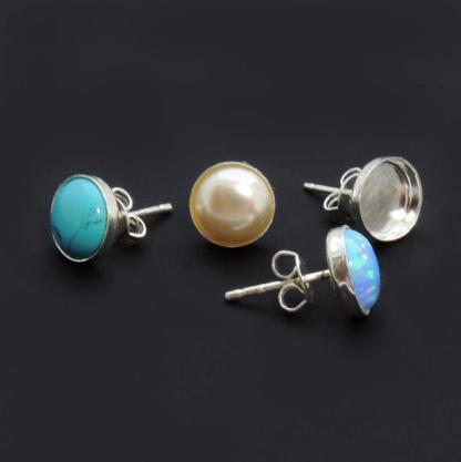 7mm bezel cup earring set