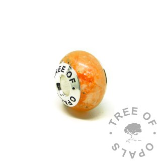 tangerine orange ashes charm bead for Chamilia and Pandora bracelets