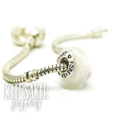 white ashes charm bead, Forever In My Heart core