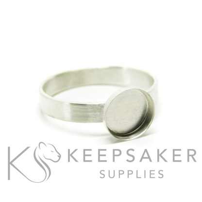 brushed band ring in Argentium silver 3mm wide, 8mm cup