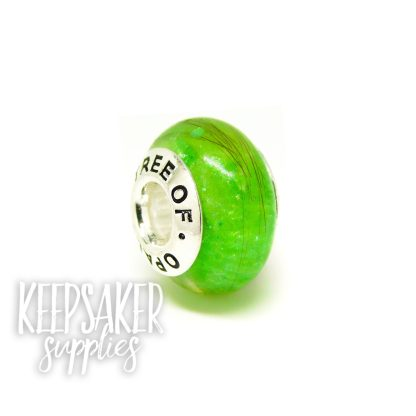 basilisk green lock of hair charm bead with brand stamped core
