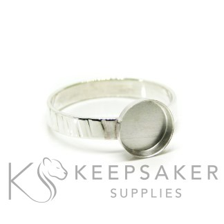 tree bark band ring in Argentium silver 3mm wide, 8mm cup