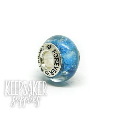 FIMH blue cremation bead, forever in my heart core, cremation ashes and Aegean blue resin sparkle mix