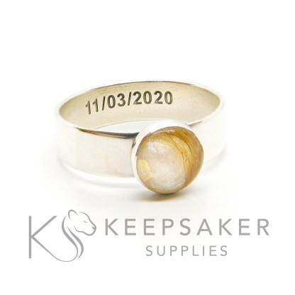 blonde lock of hair ring chunky 6mm shiny band, 8mm bezel cup, unicorn white resin sparkle mix. Engraved date inside in arial font