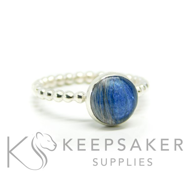 hair ring blue bubble, Aegean blue resin sparkle mix and bubble wire band