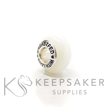 """classic breastmilk bead with """"breastfed with love bead cores. No sparkle mix just preserved breastmilk and resin with solid sterling silver setting. Perfect for Pandora bracelets"""