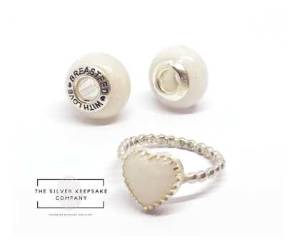 breastmilk bead front and back, breastmilk heart ring, image credit The Silver Keepsake Company