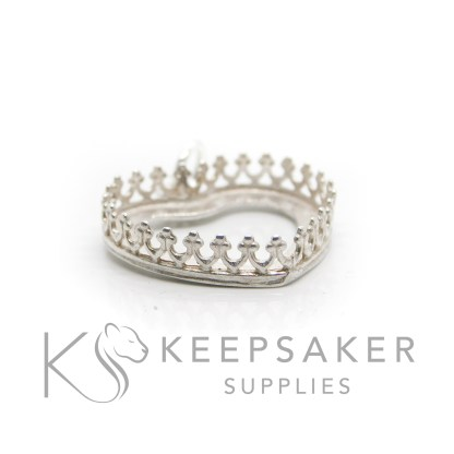 18mm shiny silver crown heart setting, 925 stamped solid sterling silver with a jump ring
