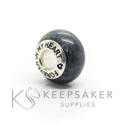 forever in my heart cremation ashes bead, black sparkle mix