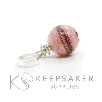 Cremation ashes and hair orb with pink sparkle mix and wire wrapped European charm setting