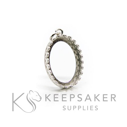 18x13mm medium shiny silver crown oval setting, 925 stamped solid sterling silver with a jump ring