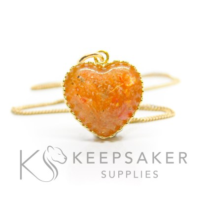 Gold vermeil ashes heart necklace, tangerine orange resin sparkle mix. Shown with jump ring and necklace chain