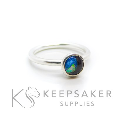 Lock of hair Ayla Solitaire Ring, hair and a slice of genuine opal for the October birthstone made into a cabochon (stone) and set into the ring with glue. Cast Argentium 935 anti-tarnish silver (higher purity than sterling)