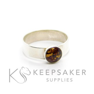 chunky band ring setting band umbilical cord ring with gold leaf, 8mm round setting with classic cord (no colour), 6mm wide shiny band