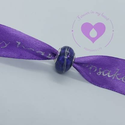 Forever In My Heart Keepsakes purple bead white fur and purple resin