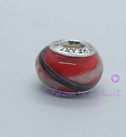Forever In My Heart Keepsakes red bead brown and white fur and red resin