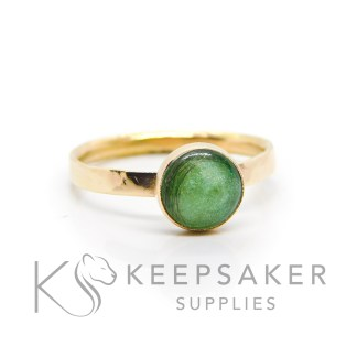 solid 14ct gold hallmarked lock of hair ring, textured band with basilisk green resin sparkle mix. 8mm round smooth bezel setting