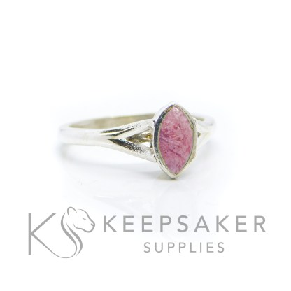 Ashes Hannah Marquise ring, fairy pink resin sparkle mix, solid 935 purity Argentium silver, cast by hand in Scotland. Split shank band, engravable on the inside. 8x4mm marquise setting for filling or fitting a cabochon