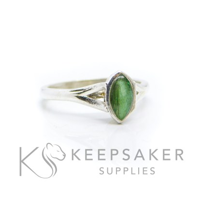 lock of hair Hannah Marquise ring with basilisk green resin sparkle mix, solid 935 purity Argentium silver, cast by hand in Scotland. Split shank band, engravable on the inside. 8x4mm marquise setting for filling or fitting a cabochon