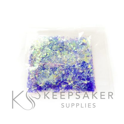 opal turqoise blue opalescent flakes, mylar iridescent shards for making keepsake, memorial and breastmilk jewellery