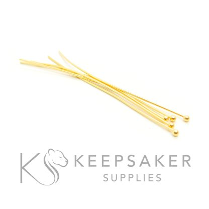 5 solid silver plated with gold 3 microns thick, gold vermeil ball headpins